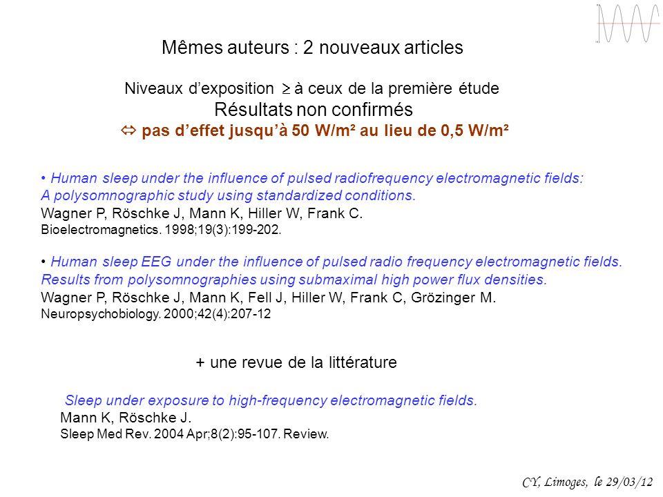 Mêmes auteurs : 2 nouveaux articles Niveaux dexposition à ceux de la première étude Résultats non confirmés pas deffet jusquà 50 W/m² au lieu de 0,5 W
