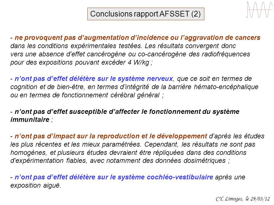 CY, Limoges, le 29/03/12 - ne provoquent pas daugmentation dincidence ou laggravation de cancers dans les conditions expérimentales testées. Les résul
