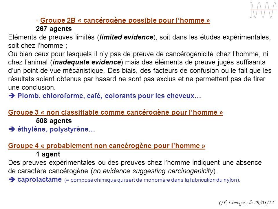 - Groupe 2B « cancérogène possible pour lhomme » 267 agents Eléments de preuves limités (limited evidence), soit dans les études expérimentales, soit