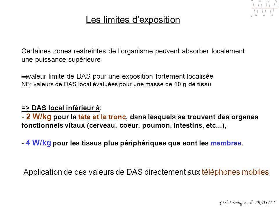Les limites dexposition Certaines zones restreintes de l'organisme peuvent absorber localement une puissance supérieure valeur limite de DAS pour une