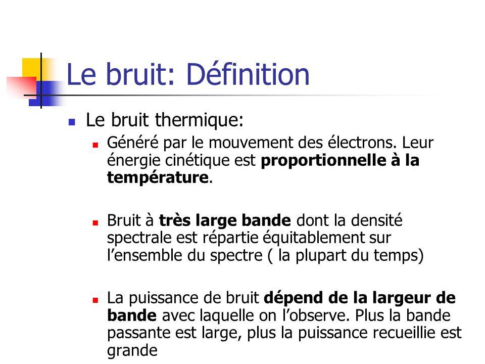 Le bruit: Définition Le bruit thermique: Généré par le mouvement des électrons. Leur énergie cinétique est proportionnelle à la température. Bruit à t