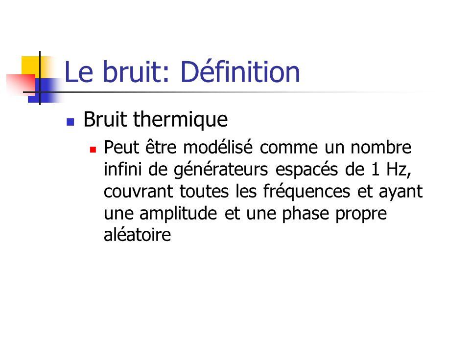 Le bruit: Définition Bruit thermique Peut être modélisé comme un nombre infini de générateurs espacés de 1 Hz, couvrant toutes les fréquences et ayant