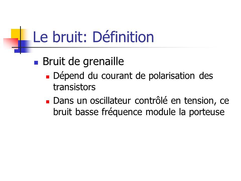 Le bruit: Définition Bruit de grenaille Dépend du courant de polarisation des transistors Dans un oscillateur contrôlé en tension, ce bruit basse fréq