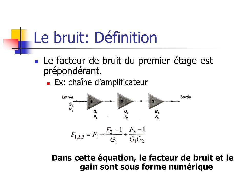Le bruit: Définition Le facteur de bruit du premier étage est prépondérant. Ex: chaîne damplificateur Dans cette équation, le facteur de bruit et le g