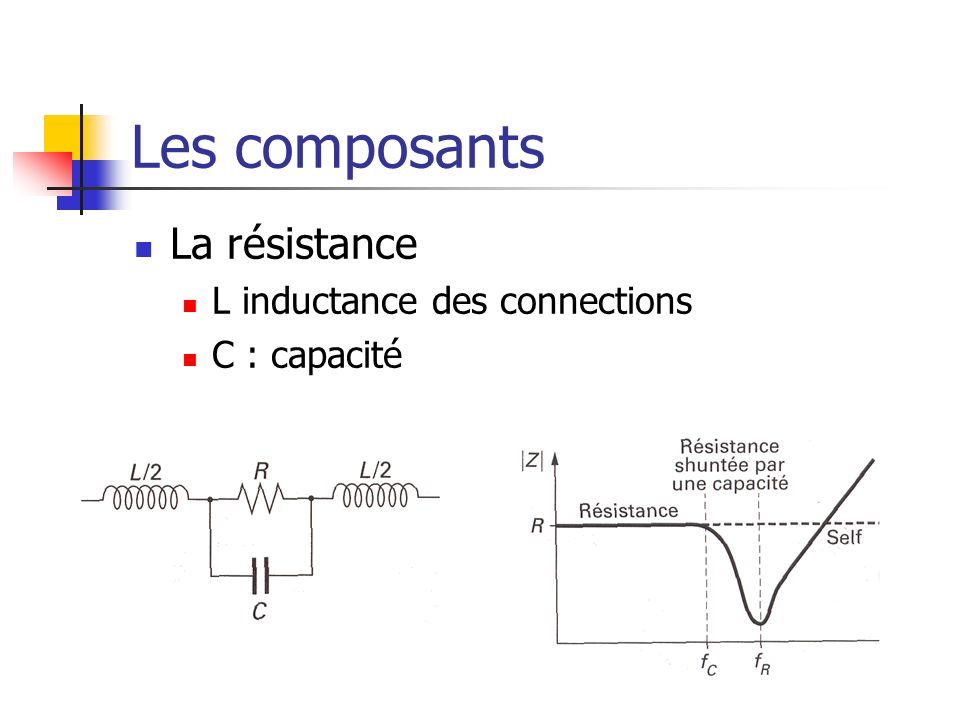 Les composants La résistance L inductance des connections C : capacité