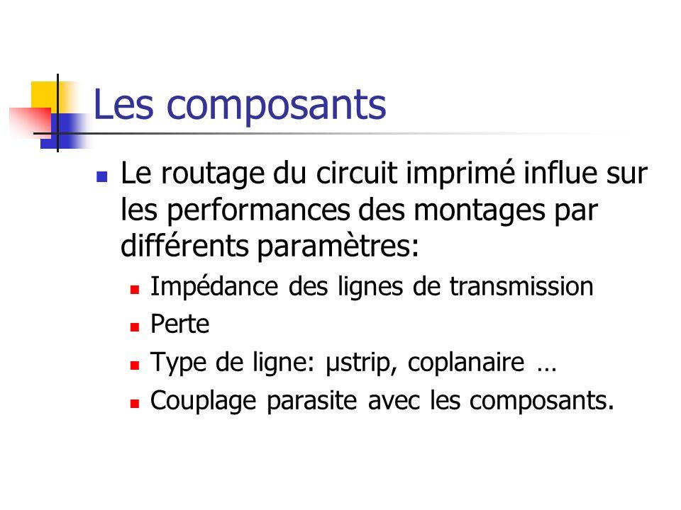 Les composants Le routage du circuit imprimé influe sur les performances des montages par différents paramètres: Impédance des lignes de transmission