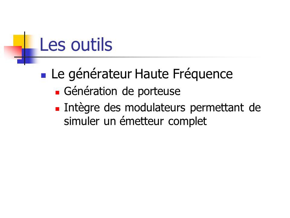 Les outils Le générateur Haute Fréquence Génération de porteuse Intègre des modulateurs permettant de simuler un émetteur complet