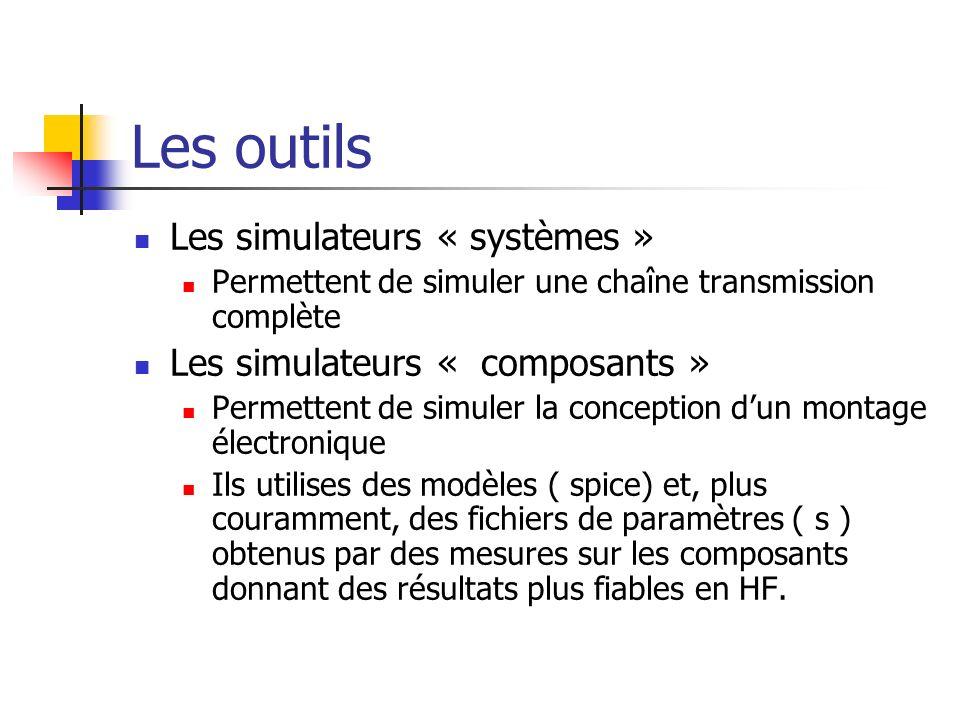 Les outils Les simulateurs « systèmes » Permettent de simuler une chaîne transmission complète Les simulateurs « composants » Permettent de simuler la