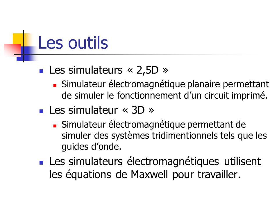 Les outils Les simulateurs « 2,5D » Simulateur électromagnétique planaire permettant de simuler le fonctionnement dun circuit imprimé. Les simulateur