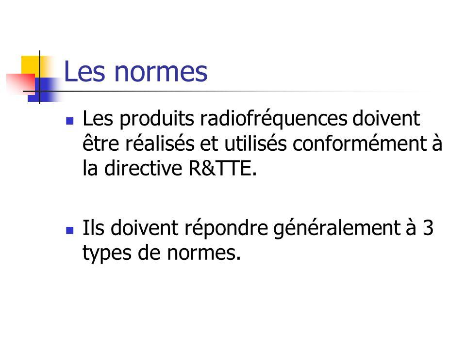 Les produits radiofréquences doivent être réalisés et utilisés conformément à la directive R&TTE. Ils doivent répondre généralement à 3 types de norme