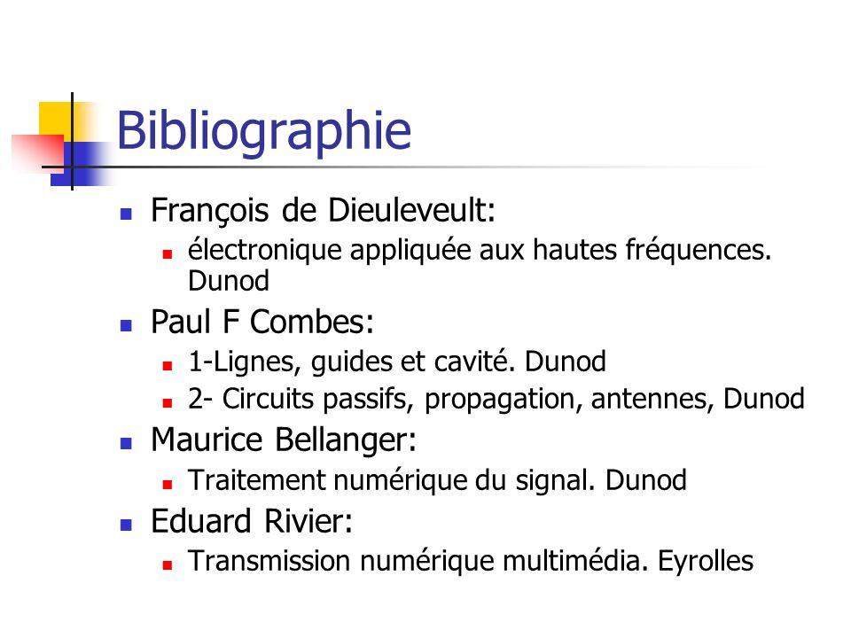 Bibliographie François de Dieuleveult: électronique appliquée aux hautes fréquences. Dunod Paul F Combes: 1-Lignes, guides et cavité. Dunod 2- Circuit