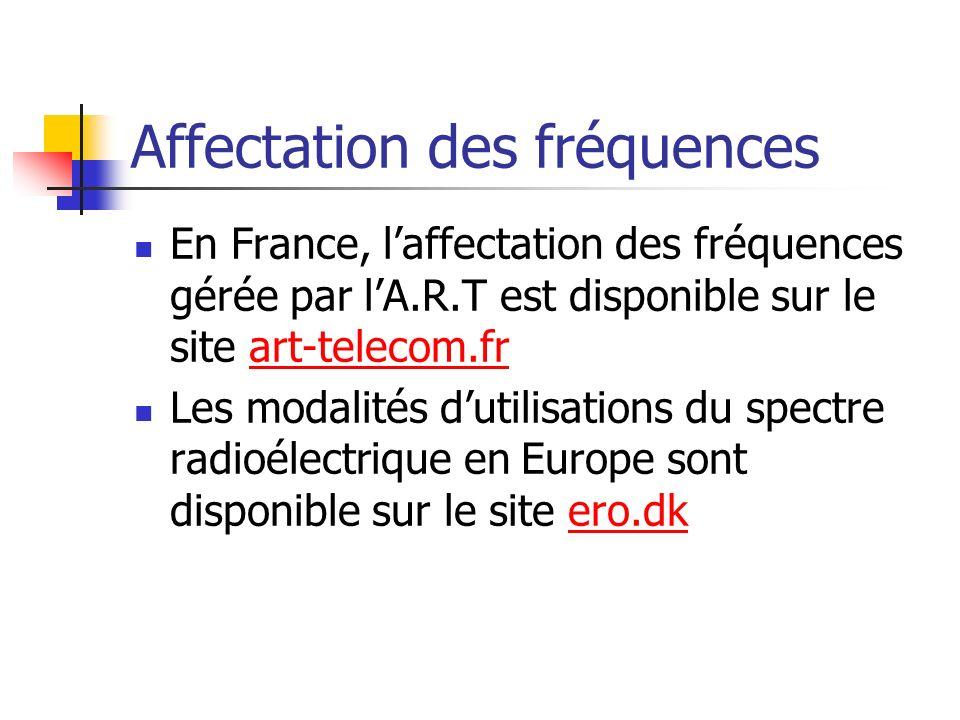 Affectation des fréquences En France, laffectation des fréquences gérée par lA.R.T est disponible sur le site art-telecom.frart-telecom.fr Les modalit