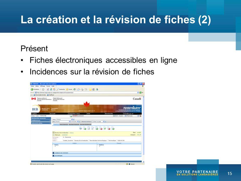 15 La création et la révision de fiches (2) Présent Fiches électroniques accessibles en ligne Incidences sur la révision de fiches