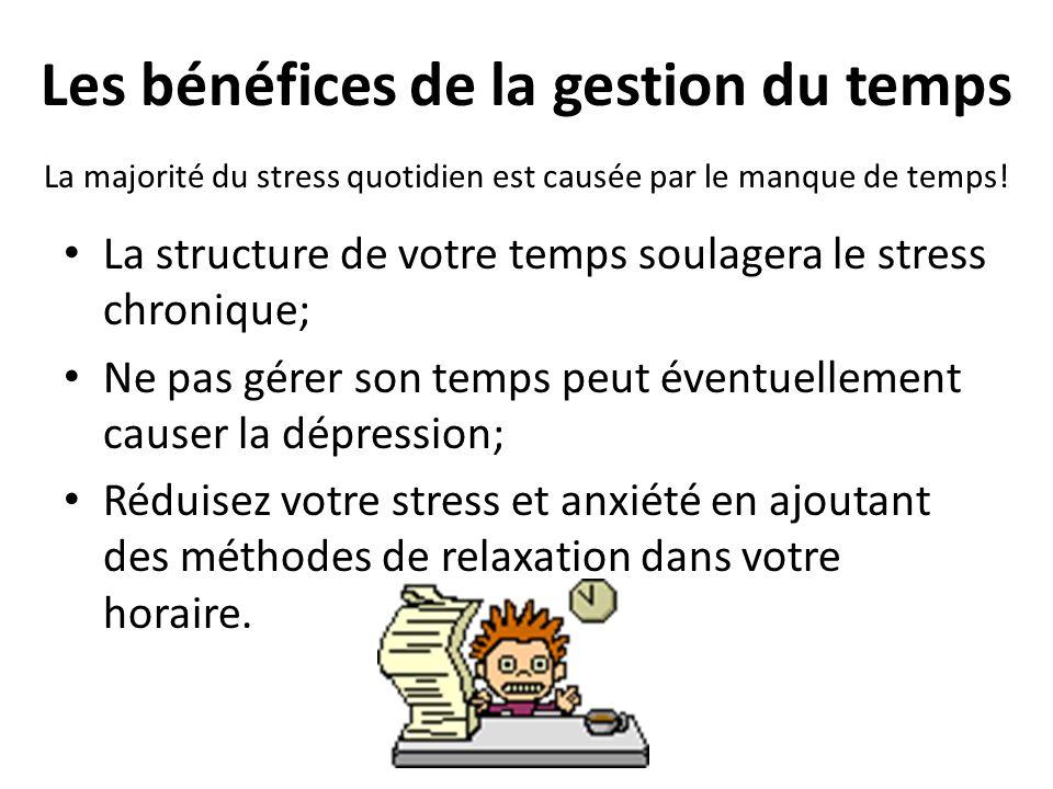 Les bénéfices de la gestion du temps La structure de votre temps soulagera le stress chronique; Ne pas gérer son temps peut éventuellement causer la dépression; Réduisez votre stress et anxiété en ajoutant des méthodes de relaxation dans votre horaire.