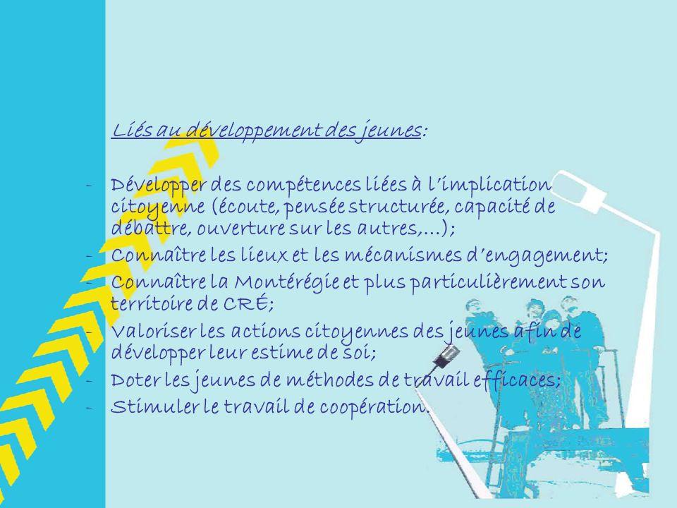 Liés au développement des jeunes: -Développer des compétences liées à limplication citoyenne (écoute, pensée structurée, capacité de débattre, ouverture sur les autres,…); -Connaître les lieux et les mécanismes dengagement; -Connaître la Montérégie et plus particulièrement son territoire de CRÉ; -Valoriser les actions citoyennes des jeunes afin de développer leur estime de soi; -Doter les jeunes de méthodes de travail efficaces; -Stimuler le travail de coopération.