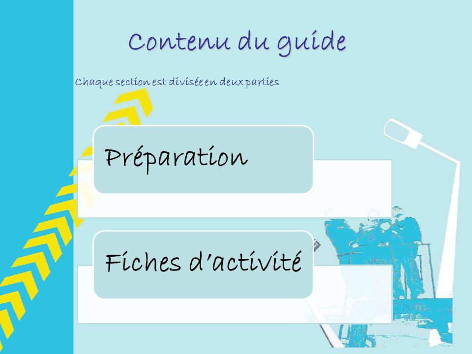 Contenu du guide PréparationFiches dactivité Chaque section est divisée en deux parties