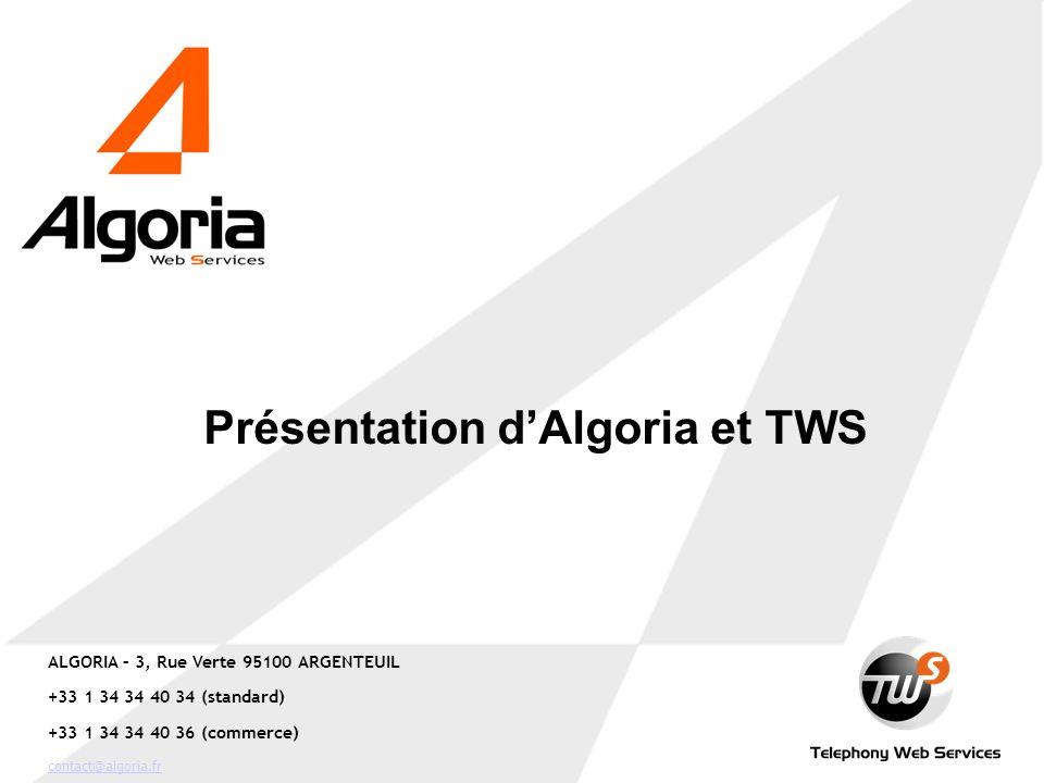 ALGORIA – 3, Rue Verte 95100 ARGENTEUIL +33 1 34 34 40 34 (standard) +33 1 34 34 40 36 (commerce) contact@algoria.fr Présentation dAlgoria et TWS