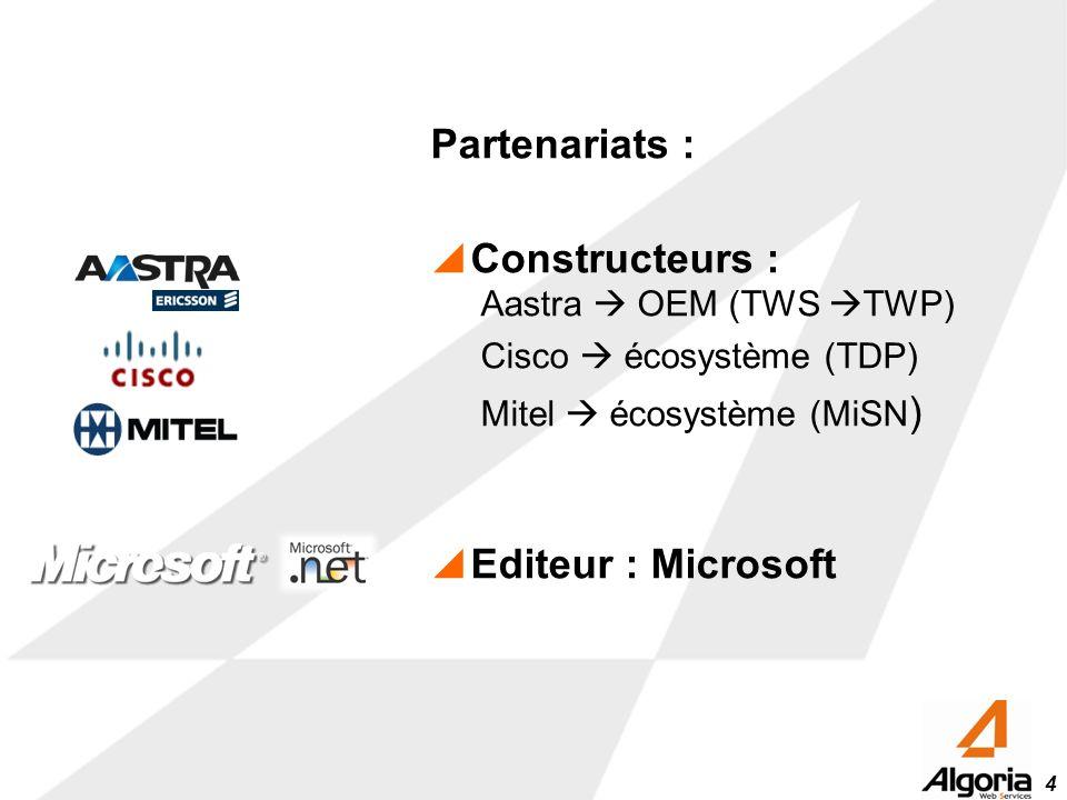 4 Partenariats : Constructeurs : Aastra OEM (TWS TWP) Cisco écosystème (TDP) Mitel écosystème (MiSN ) Editeur : Microsoft