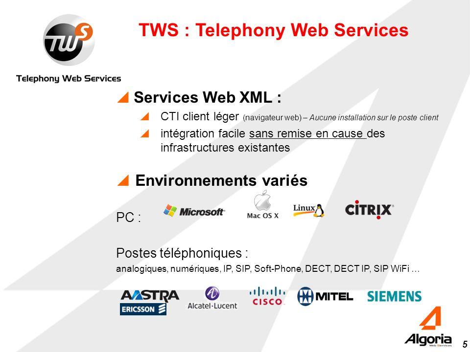 5 Environnements variés PC : Postes téléphoniques : analogiques, numériques, IP, SIP, Soft-Phone, DECT, DECT IP, SIP WiFi … TWS : Telephony Web Servic