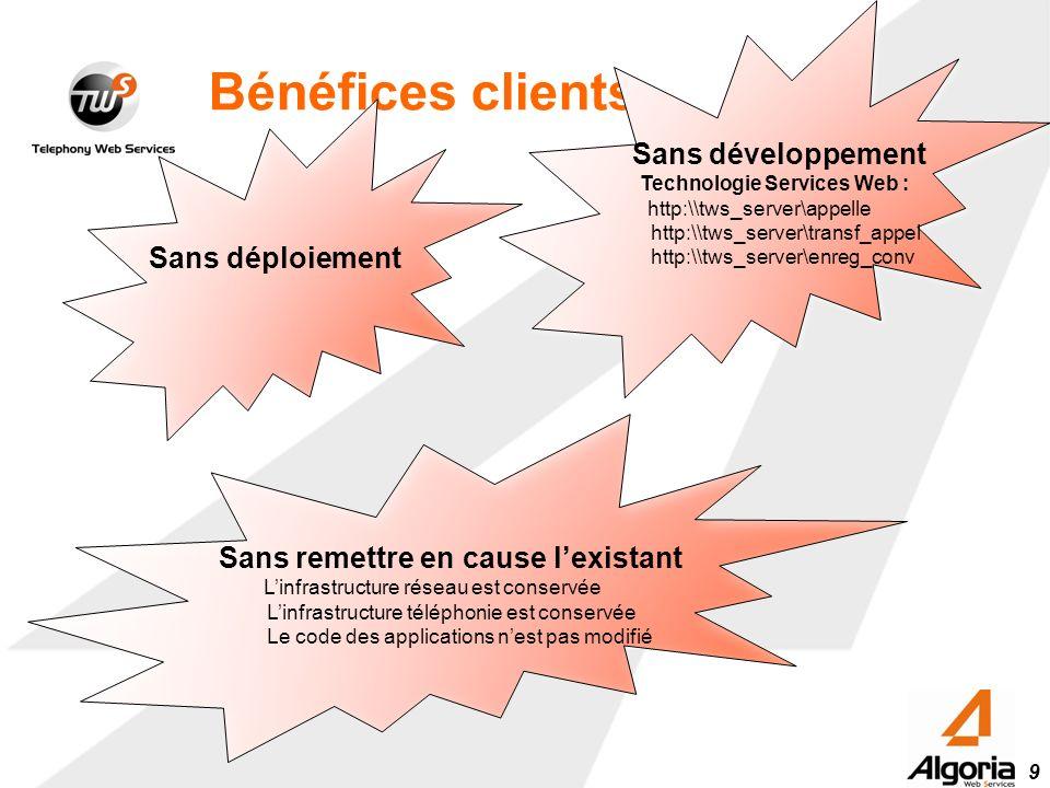 9 Bénéfices clients Sans déploiement Sans développement Technologie Services Web : http:\\tws_server\appelle http:\\tws_server\transf_appel http:\\tws