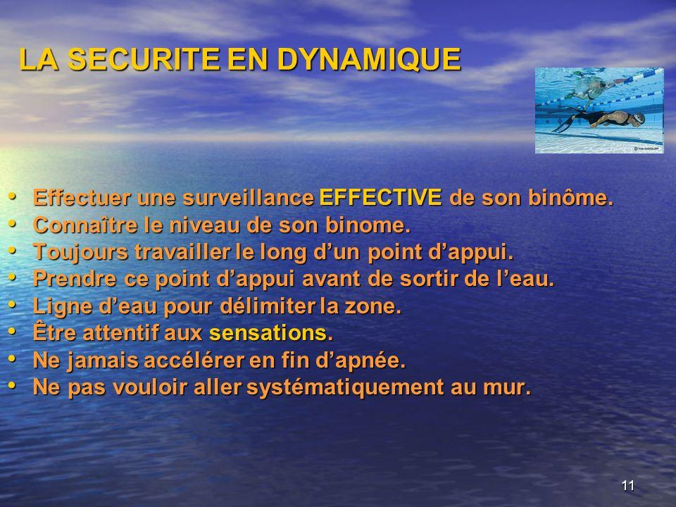 11 LA SECURITE EN DYNAMIQUE Effectuer une surveillance EFFECTIVE de son binôme. Effectuer une surveillance EFFECTIVE de son binôme. Connaître le nivea