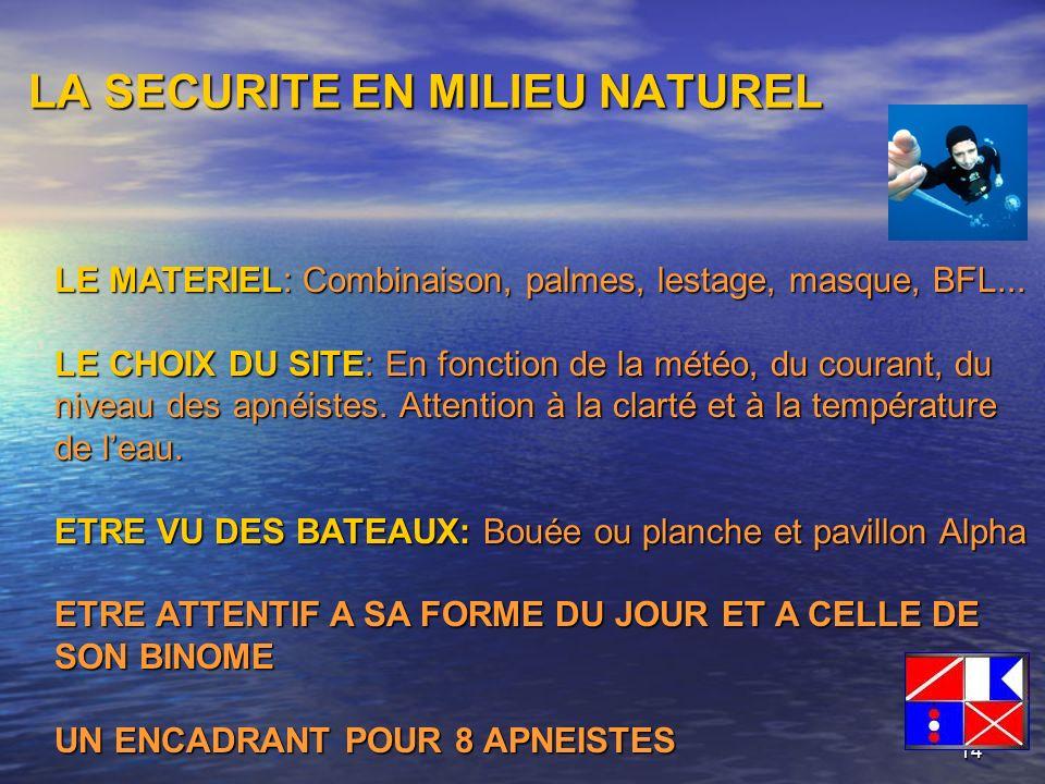14 LA SECURITE EN MILIEU NATUREL LE MATERIEL: Combinaison, palmes, lestage, masque, BFL... LE CHOIX DU SITE: En fonction de la météo, du courant, du n