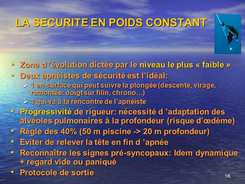 16 LA SECURITE EN POIDS CONSTANT Zone d évolution dictée par le niveau le plus « faible » Zone d évolution dictée par le niveau le plus « faible » Deu