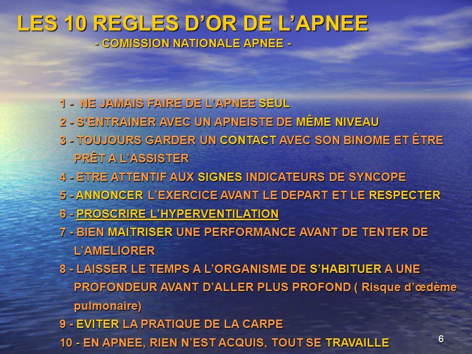 6 LES 10 REGLES DOR DE LAPNEE - COMISSION NATIONALE APNEE - 1 - NE JAMAIS FAIRE DE LAPNEE SEUL 2 - SENTRAINER AVEC UN APNEISTE DE MÊME NIVEAU 2 - SENT