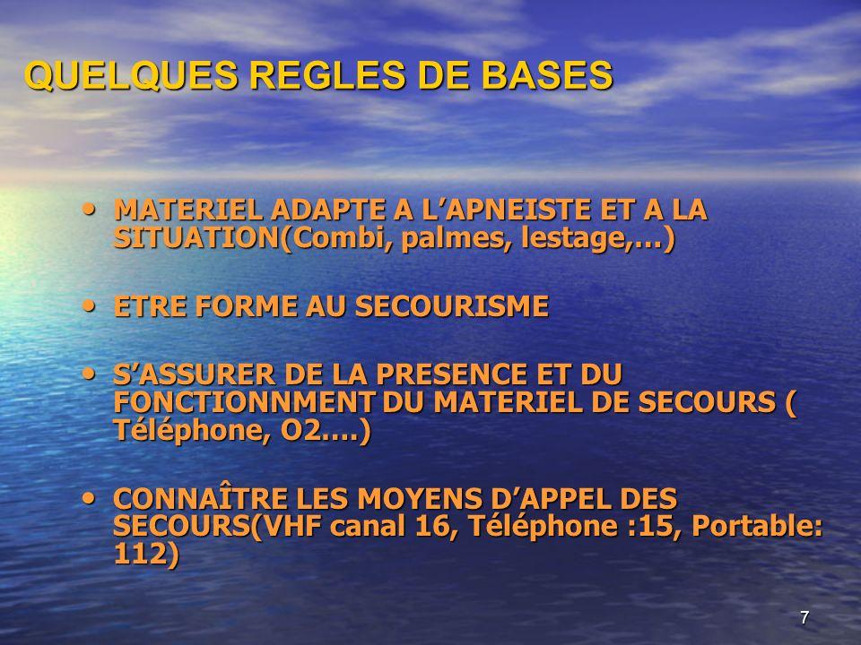 7 QUELQUES REGLES DE BASES MATERIEL ADAPTE A LAPNEISTE ET A LA SITUATION(Combi, palmes, lestage,…) MATERIEL ADAPTE A LAPNEISTE ET A LA SITUATION(Combi