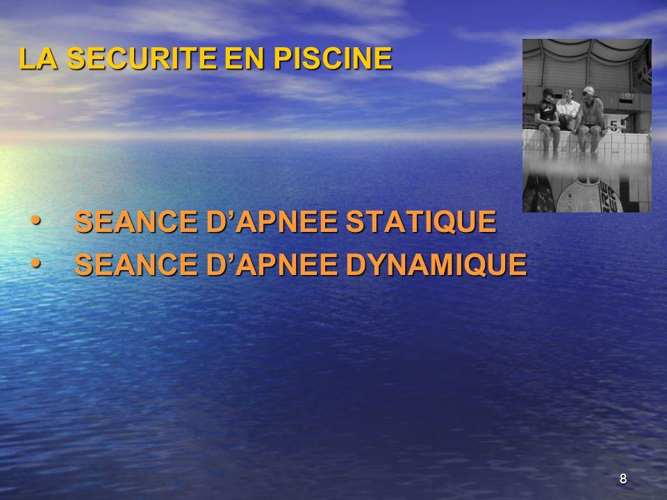 8 LA SECURITE EN PISCINE SEANCE DAPNEE STATIQUE SEANCE DAPNEE STATIQUE SEANCE DAPNEE DYNAMIQUE SEANCE DAPNEE DYNAMIQUE