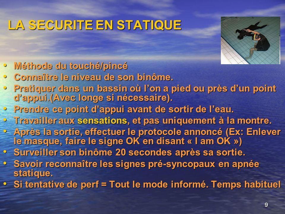 9 LA SECURITE EN STATIQUE Méthode du touché/pincé Méthode du touché/pincé Connaître le niveau de son binôme. Connaître le niveau de son binôme. Pratiq