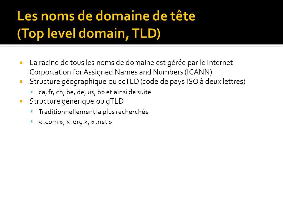 La racine de tous les noms de domaine est gérée par le Internet Corportation for Assigned Names and Numbers (ICANN) Structure géographique ou ccTLD (code de pays ISO à deux lettres) ca, fr, ch, be, de, us, bb et ainsi de suite Structure générique ou gTLD Traditionnellement la plus recherchée «.com », «.org », «.net »