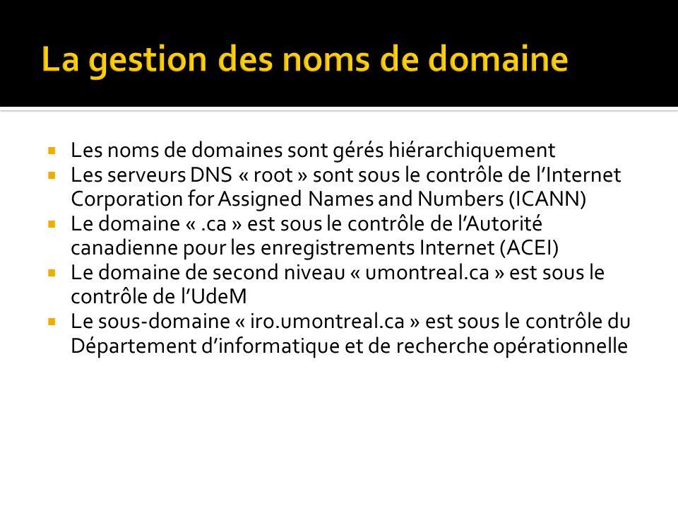 Les noms de domaines sont gérés hiérarchiquement Les serveurs DNS « root » sont sous le contrôle de lInternet Corporation for Assigned Names and Numbers (ICANN) Le domaine «.ca » est sous le contrôle de lAutorité canadienne pour les enregistrements Internet (ACEI) Le domaine de second niveau « umontreal.ca » est sous le contrôle de lUdeM Le sous-domaine « iro.umontreal.ca » est sous le contrôle du Département dinformatique et de recherche opérationnelle