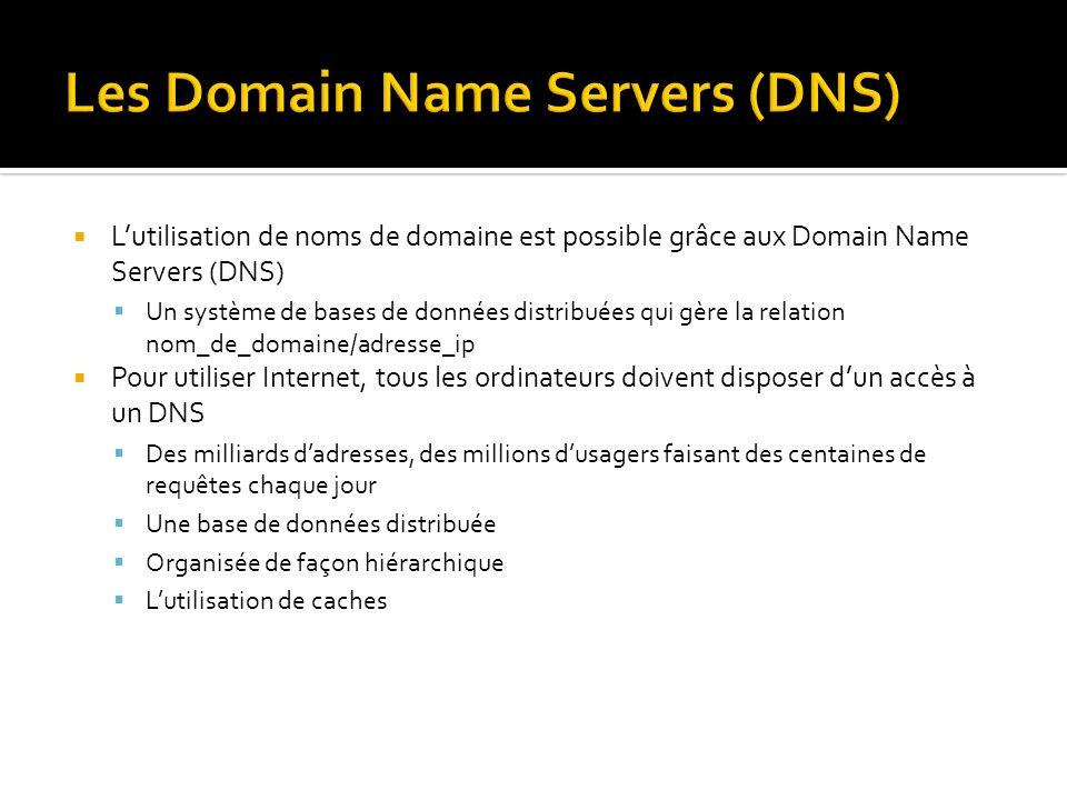 Lutilisation de noms de domaine est possible grâce aux Domain Name Servers (DNS) Un système de bases de données distribuées qui gère la relation nom_de_domaine/adresse_ip Pour utiliser Internet, tous les ordinateurs doivent disposer dun accès à un DNS Des milliards dadresses, des millions dusagers faisant des centaines de requêtes chaque jour Une base de données distribuée Organisée de façon hiérarchique Lutilisation de caches