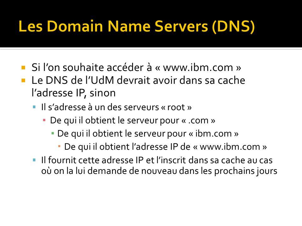 Si lon souhaite accéder à « www.ibm.com » Le DNS de lUdM devrait avoir dans sa cache ladresse IP, sinon Il sadresse à un des serveurs « root » De qui il obtient le serveur pour «.com » De qui il obtient le serveur pour « ibm.com » De qui il obtient ladresse IP de « www.ibm.com » Il fournit cette adresse IP et linscrit dans sa cache au cas où on la lui demande de nouveau dans les prochains jours