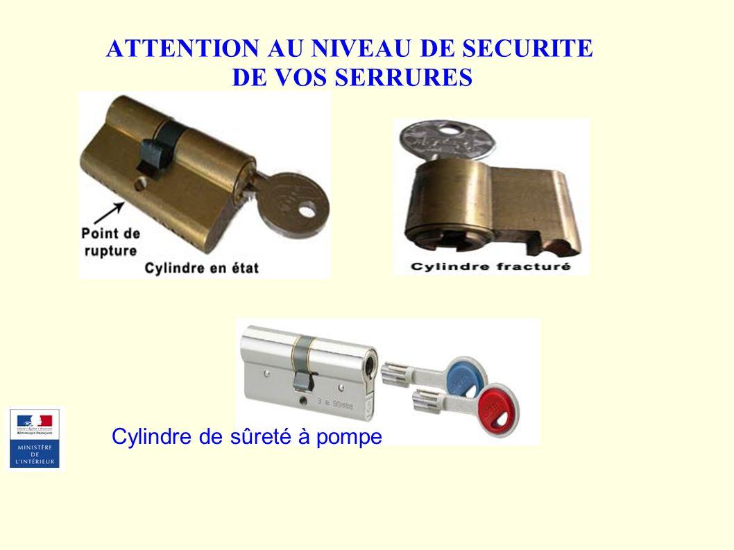 ATTENTION AU NIVEAU DE SECURITE DE VOS SERRURES Cylindre de sûreté à pompe