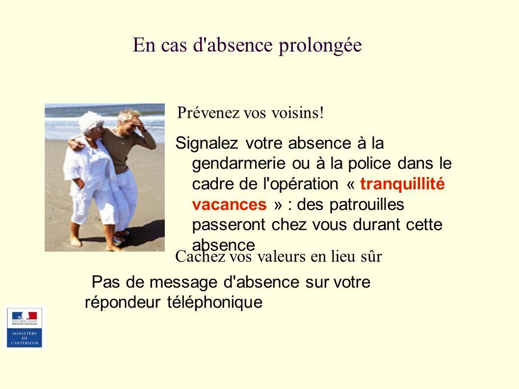 En cas d'absence prolongée Prévenez vos voisins! Signalez votre absence à la gendarmerie ou à la police dans le cadre de l'opération « tranquillité va