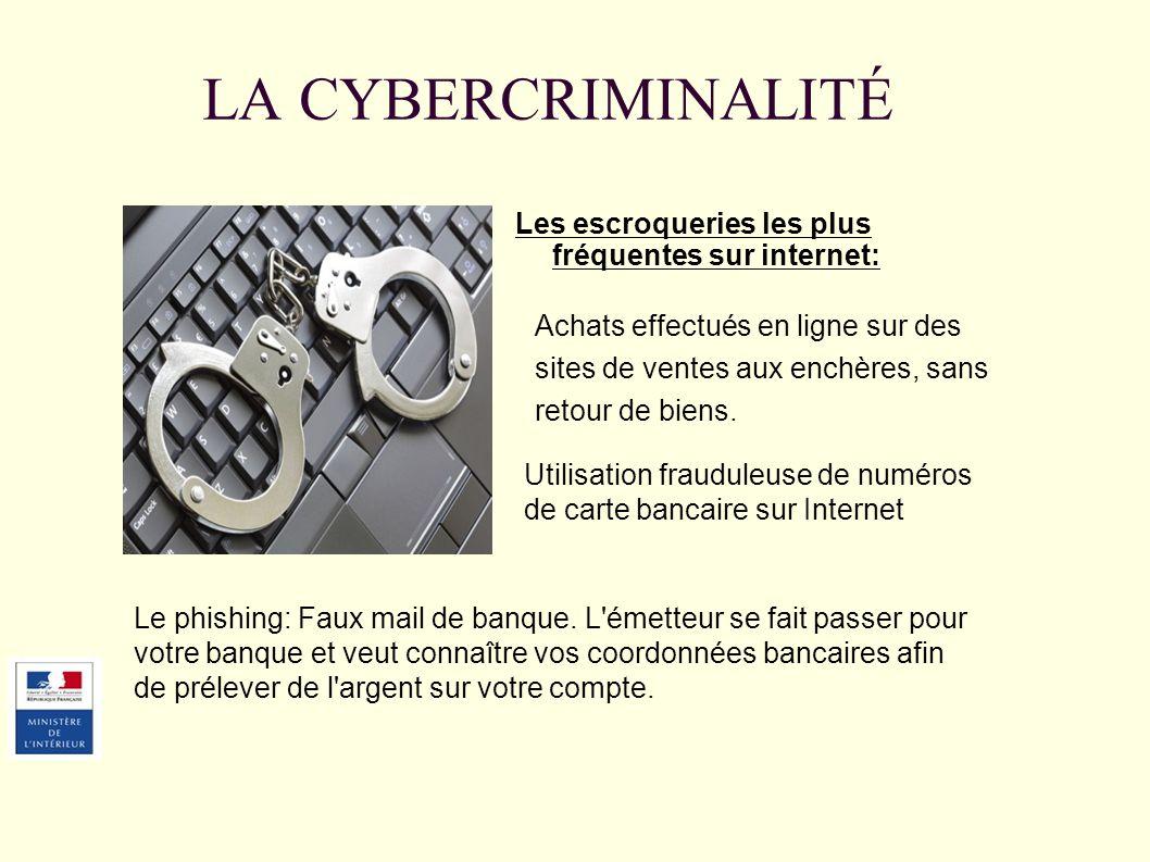 Les escroqueries les plus fréquentes sur internet: Achats effectués en ligne sur des sites de ventes aux enchères, sans retour de biens. Le phishing: