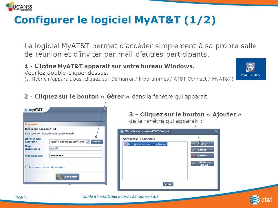 Guide dinstallation pour AT&T Connect 8.5 Page 10 Configurer le logiciel MyAT&T (1/2) Le logiciel MyAT&T permet daccéder simplement à sa propre salle