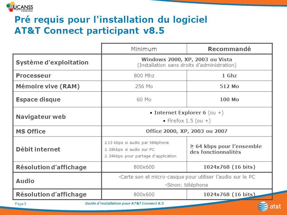 Guide dinstallation pour AT&T Connect 8.5 Page 5 Pré requis pour l'installation du logiciel AT&T Connect participant v8.5 MinimumRecommandé Système de