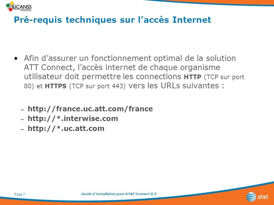 Guide dinstallation pour AT&T Connect 8.5 Page 7 Pré-requis techniques sur laccès Internet Afin dassurer un fonctionnement optimal de la solution ATT