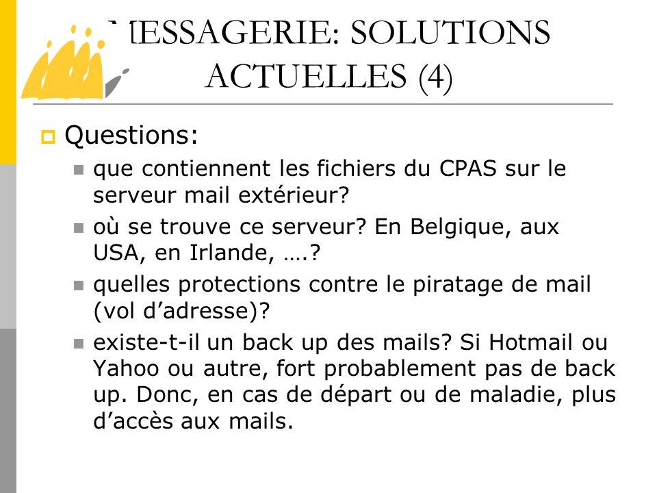 MESSAGERIE: SOLUTIONS ACTUELLES (4) Questions: que contiennent les fichiers du CPAS sur le serveur mail extérieur? où se trouve ce serveur? En Belgiqu