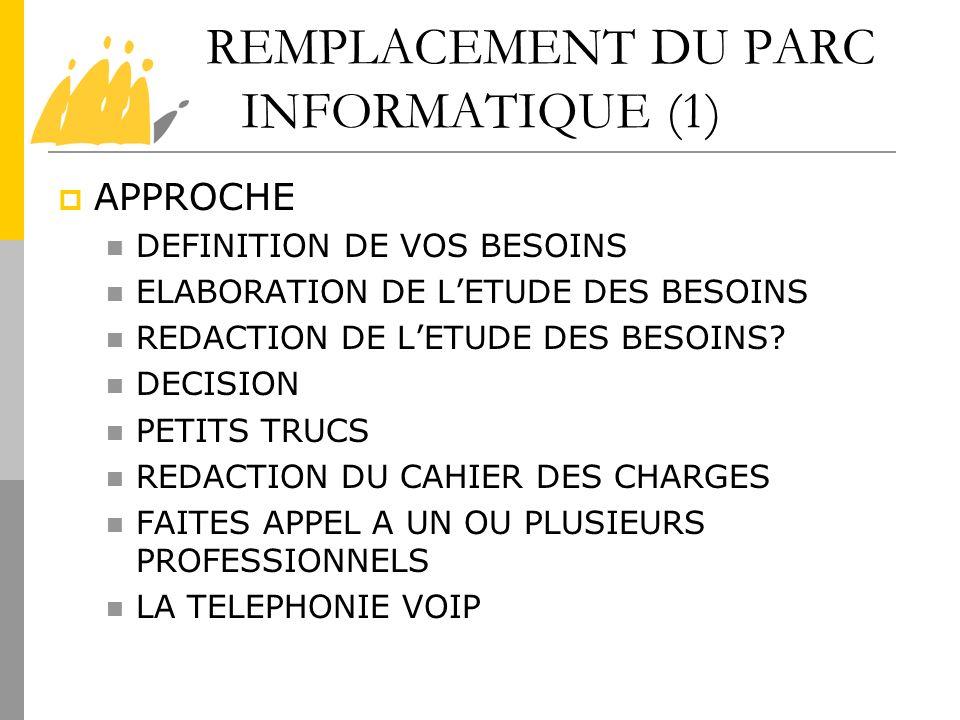 REMPLACEMENT DU PARC INFORMATIQUE (1) APPROCHE DEFINITION DE VOS BESOINS ELABORATION DE LETUDE DES BESOINS REDACTION DE LETUDE DES BESOINS? DECISION P