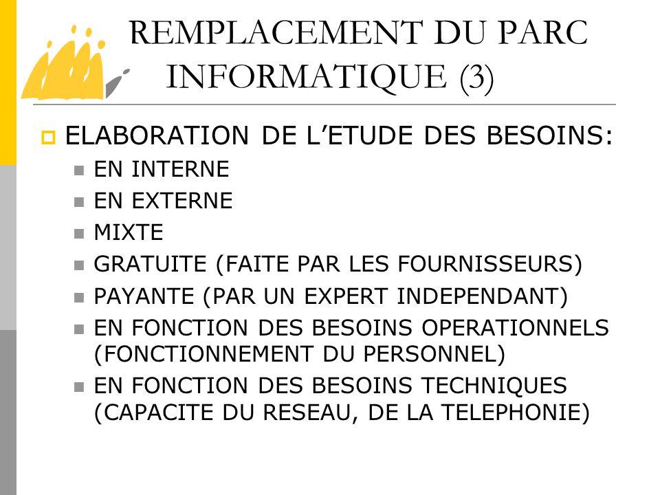 REMPLACEMENT DU PARC INFORMATIQUE (3) ELABORATION DE LETUDE DES BESOINS: EN INTERNE EN EXTERNE MIXTE GRATUITE (FAITE PAR LES FOURNISSEURS) PAYANTE (PA