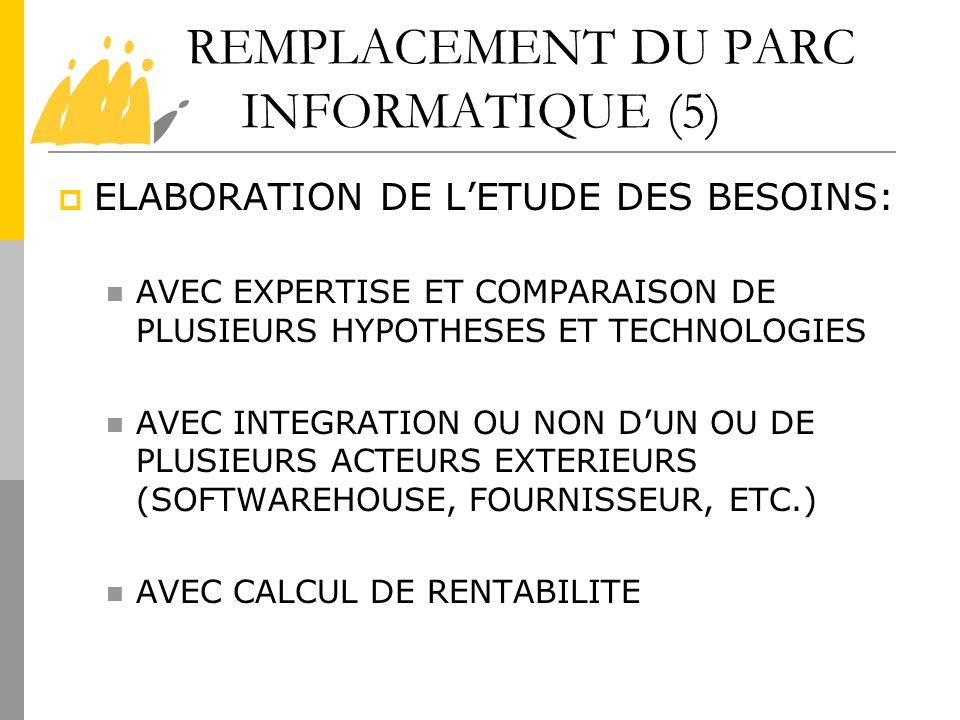 REMPLACEMENT DU PARC INFORMATIQUE (5) ELABORATION DE LETUDE DES BESOINS: AVEC EXPERTISE ET COMPARAISON DE PLUSIEURS HYPOTHESES ET TECHNOLOGIES AVEC IN