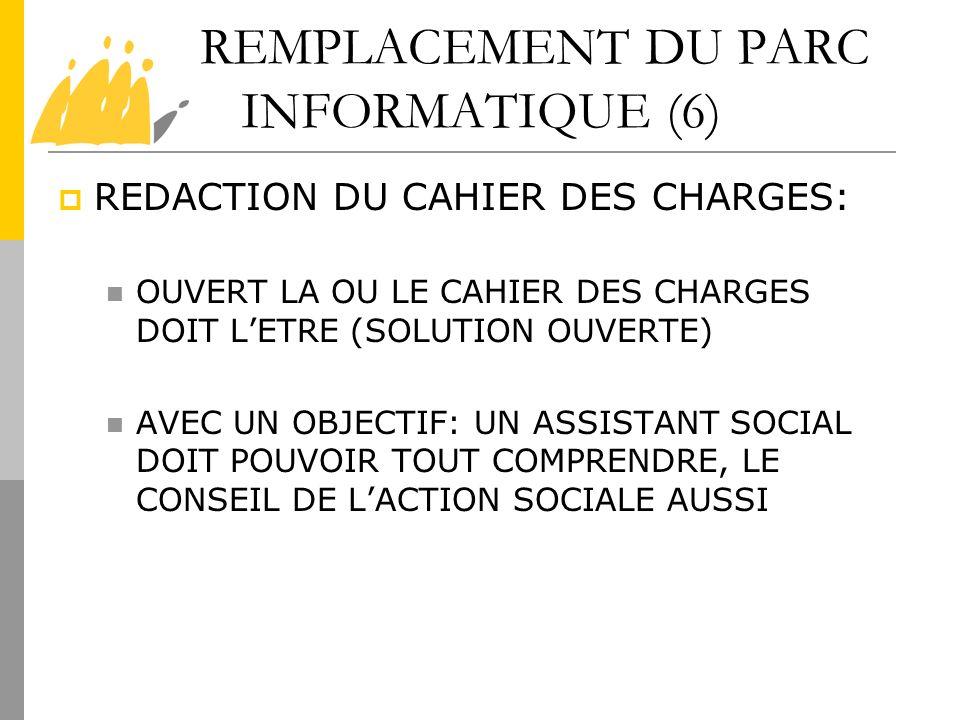 REMPLACEMENT DU PARC INFORMATIQUE (6) REDACTION DU CAHIER DES CHARGES: OUVERT LA OU LE CAHIER DES CHARGES DOIT LETRE (SOLUTION OUVERTE) AVEC UN OBJECT