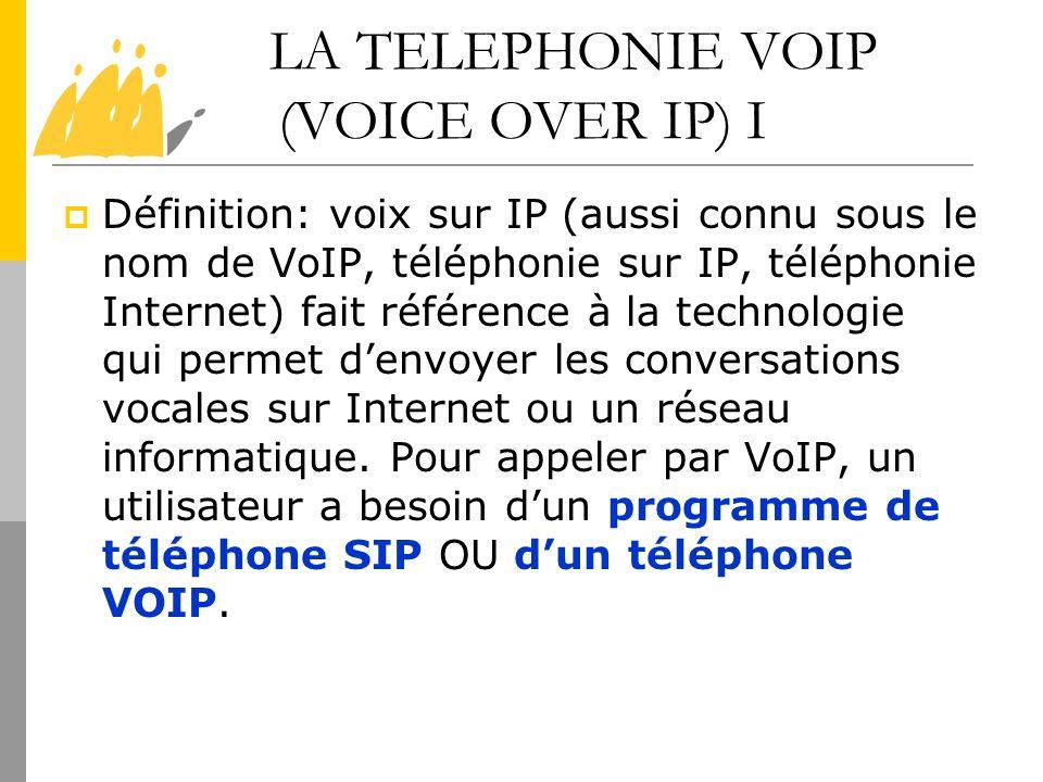 LA TELEPHONIE VOIP (VOICE OVER IP) I Définition: voix sur IP (aussi connu sous le nom de VoIP, téléphonie sur IP, téléphonie Internet) fait référence