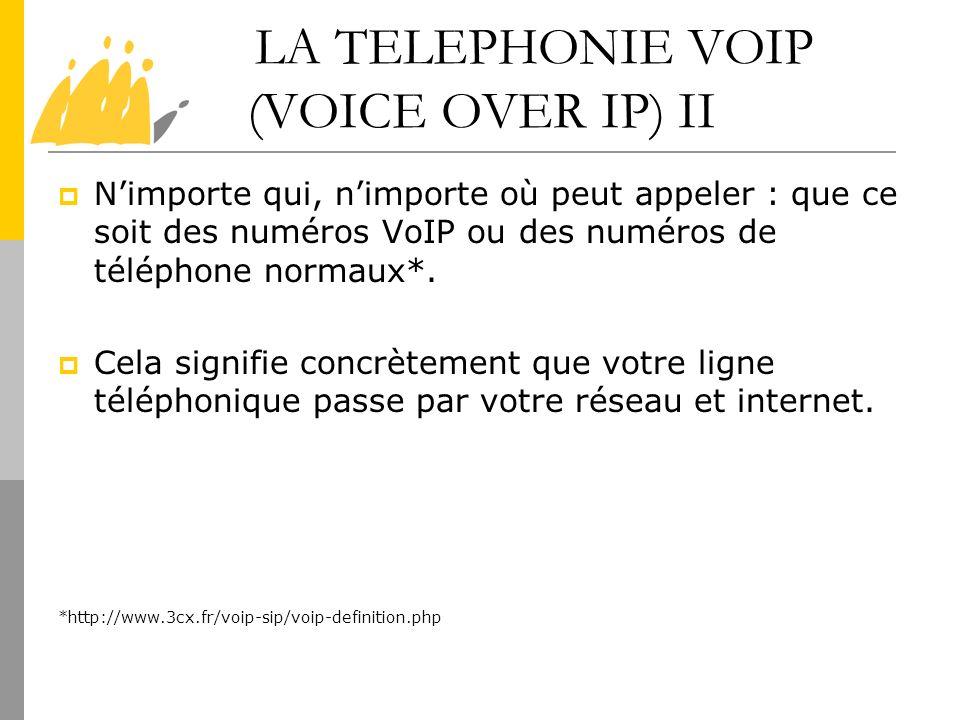 LA TELEPHONIE VOIP (VOICE OVER IP) II Nimporte qui, nimporte où peut appeler : que ce soit des numéros VoIP ou des numéros de téléphone normaux*. Cela