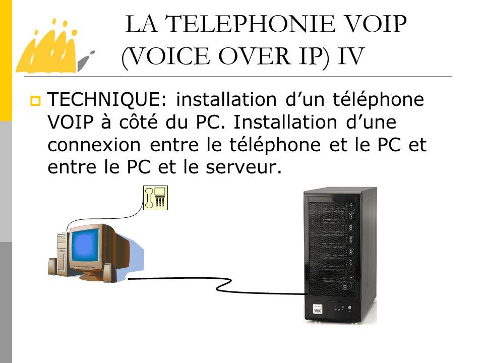 LA TELEPHONIE VOIP (VOICE OVER IP) IV TECHNIQUE: installation dun téléphone VOIP à côté du PC. Installation dune connexion entre le téléphone et le PC