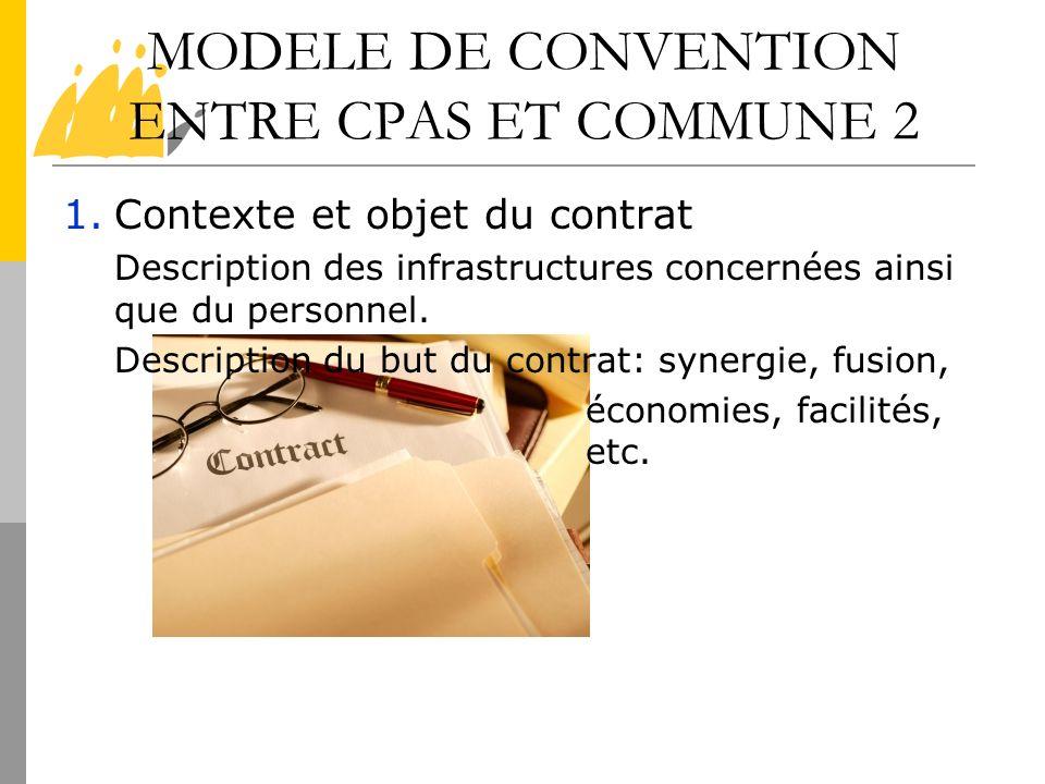 MODELE DE CONVENTION ENTRE CPAS ET COMMUNE 2 1.Contexte et objet du contrat Description des infrastructures concernées ainsi que du personnel. Descrip